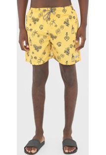 Bermuda ÁGua Red Nose Quadrada Tropical Amarela - Amarelo - Masculino - Poliã©Ster - Dafiti