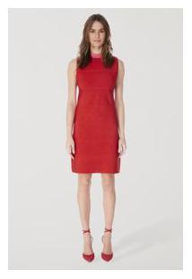 Vestido Tricot Gola Color Vermelho Madri