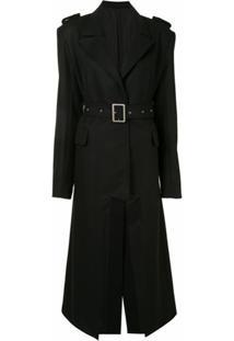 Boyarovskaya Trench Coat Oversized Com Recorte Vazado - Preto