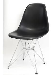 Cadeira Eames Polipropileno Preto Cromada - 9707 Sun House