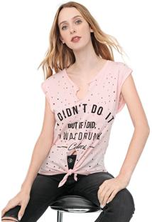 Camiseta Colcci Destroyed Rosa