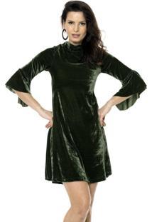 Vestido Bisô Manga Flare Veludo Verde