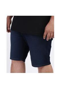 Bermuda Jeans Masculina Plus Size Com Bolsos Azul Escuro