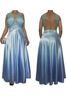 Vestido De Festa Longo Azul Com Tule Nas Costas