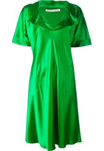 Stephan Janson Vestido De Seda Gola V - Green