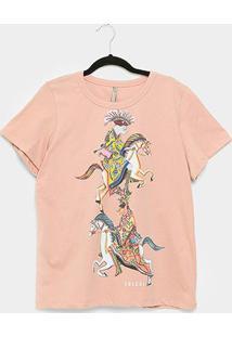 Camiseta Colcci Estampada Feminina - Feminino-Rosa