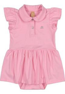 Body Vestido Para Bebê Rosa
