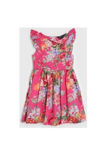 Vestido Polo Ralph Lauren Infantil Floral Rosa