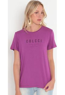 "Camiseta ""Loving Yourself""- Roxa & Preta- Colccicolcci"