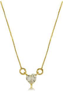Colar 3Rs Semijoias Coração Pequeno Em Zircônia Folheado A Ouro 18K Dourado