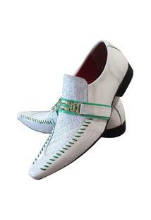 Sapato Masculino Italiano Em Couro Social Executivo Art Sapatos Branco Greenwich
