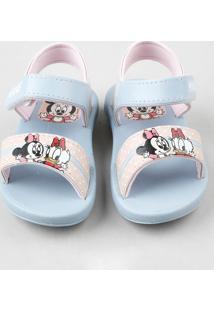 Sandália Infantil Grendene Minnie Azul Claro