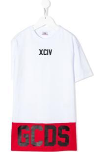 Gcds Kids Vestido Com Logo - Branco