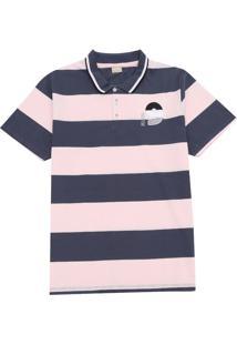 Camisa Milon Infantil Listras Azul/Rosa
