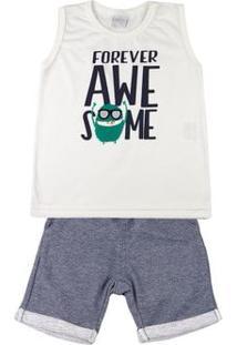 Conjunto Infantil Menino Meia Malha E Moletom Fleece Forever Awesome - Natural 1