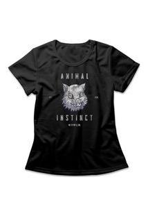 Camiseta Feminina Demon Slayer Animal Instinct Preto