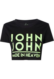 Camiseta John John Jj Logo Neon Malha Preto Feminina (Preto, Pp)