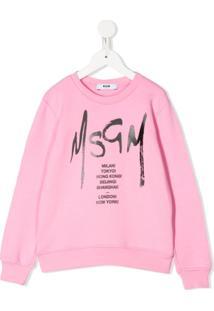 Msgm Kids Moletom Com Estampa De Logo - Rosa