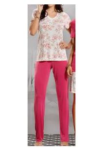 Pijama Longo Liganete Floral Paulienne Classic (8771-0)