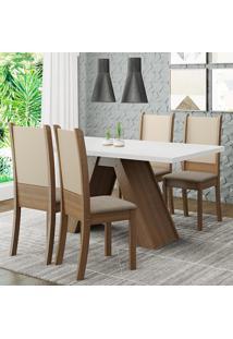 Conjunto Sala De Jantar Madesa Kiara Mesa Tampo De Madeira Com 4 Cadeiras - Rustic/Branco/Crema/Bege Marrom