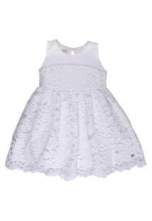 Vestido Infantil Com Renda E Detalhes Bordados - Anjos Baby Chic Branco