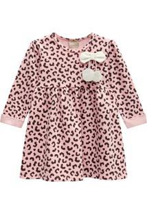 Vestido Infantil Estampado Manga Longa Milon Rosa