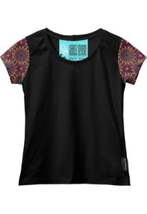 Camiseta Baby Look Feminina Algodão Mandala Estilo Moda Leve - Feminino-Preto