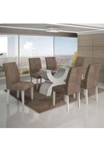 Conjunto De Mesa Com 6 Cadeiras Olímpia I Suede Amassado Branco E Capuccino