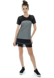 Camiseta Manga Curta Pinyx Vitro Cinza E Branco - Tricae