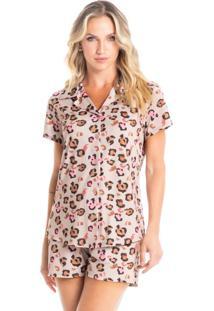 Pijama Curto Abotoado Em Animal Print Lauren