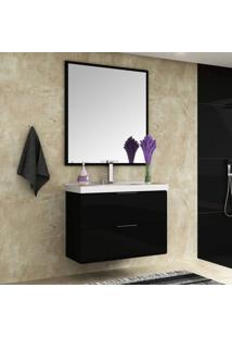 Conjunto Para Banheiro Gabinete Com Cuba E Espelheira 80Cm Pietra Móveis Bosi Preto/Preto Brilho