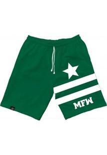 Bermuda Moletom Mfw Army Star Com Bolsos Masculina - Masculino-Verde