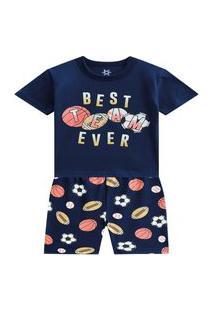 Pijama Infantil Menino Brandili Melhor Time Hora De Dormir
