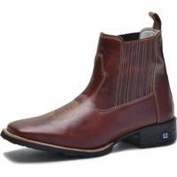 Bota Bico Quadrado Masculina Loja Sapato Brasil Cano Curto Vinho c39446de8440b