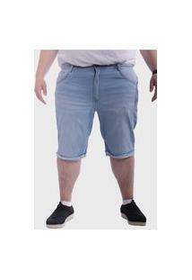 Bermuda Jeans Claro Plus Size Mega Premium Masculino - Azul Claro
