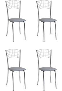 Conjunto Com 4 Cadeiras Rebecca Cinza E Cromado