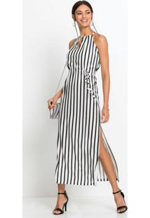 Vestido Longo De Alças Listrado Branco E Preto