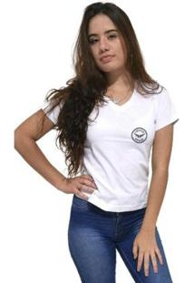 Camiseta Gola V Cellos Seal Premium Feminina - Feminino-Branco