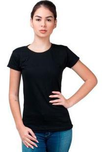 Camiseta Baby Look Básica Part.B Gola Redonda Feminina - Feminino-Preto