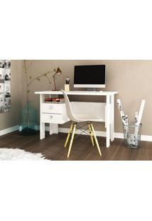 Mesa Computador 2 Gavetas Branco