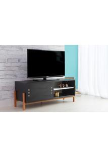 Rack Para Tv Preto Moderno Vintage Retrô Com Porta De Correr Preta Eric - 126X43,6X48,5 Cm
