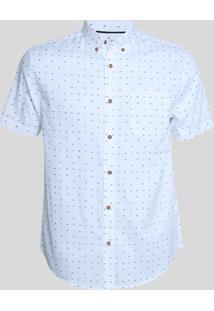 Camisa Masculina Estampada Mini Print De Setas Manga Curta Branca