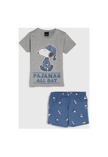 Pijama Malwee Kids Curto Infantil Snoopy Cinza/Azul
