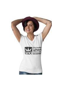 Camiseta Feminina Gola V Ezok Royal Brand Branco