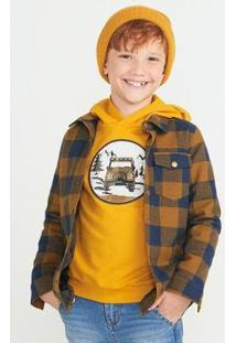 Camisa Menino Em Flanela Xadrez Com Forro - Uxam1Asi5 Masculina - Masculino-Amarelo+Azul
