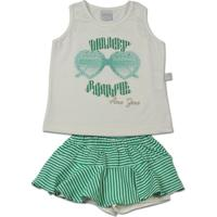 Conjunto Infantil Cotton E Listrado Lelu Must Have - Feminino-Verde 9a827005f2f
