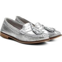555566f6fad4 Mocassim Couro Shoestock Barbicachos Feminino - Feminino-Prata