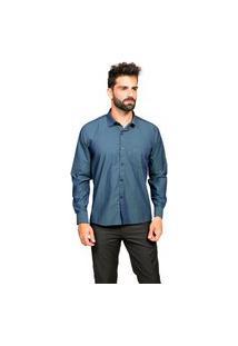 Camisa Manga Longa Tony Menswear Sr. Algodáo Com Bolso Azul Escuro
