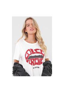 Camiseta Colcci Glitter Off-White
