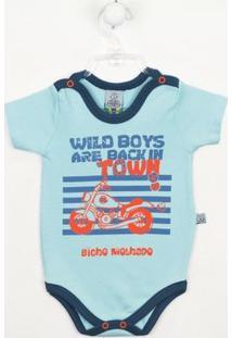Body Bebê Manga Curta Moto - Masculino-Azul